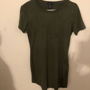 Olive green faux suede dolphin hem dress